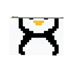 Pixel Linux Tux Penguin Cosmetic Bag (large)