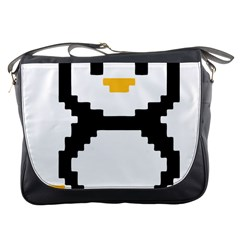 Pixel Linux Tux Penguin Messenger Bag