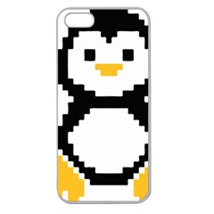 Pixel Linux Tux Penguin Apple Seamless Iphone 5 Case (clear)