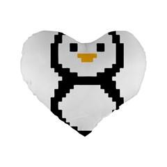 Pixel Linux Tux Penguin 16  Premium Heart Shape Cushion