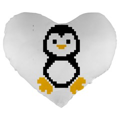 Pixel Linux Tux Penguin 19  Premium Heart Shape Cushion