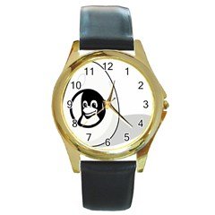 LIUX TUX EGG BRAND Round Leather Watch (Gold Rim)