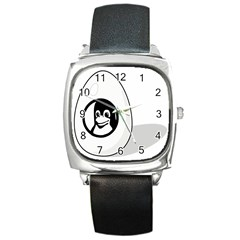 Liux Tux Egg Brand Square Leather Watch