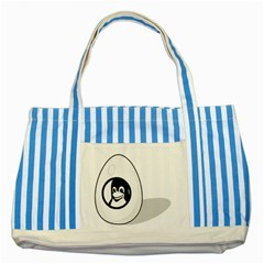 Liux Tux Egg Brand Blue Striped Tote Bag