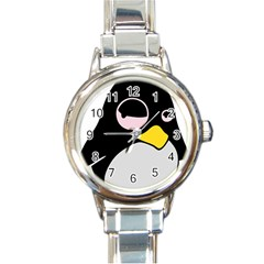 Lazy Linux Tux Penguin Round Italian Charm Watch