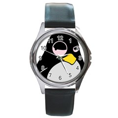 Lazy Linux Tux Penguin Round Leather Watch (Silver Rim)