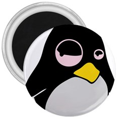 Lazy Linux Tux Penguin 3  Button Magnet