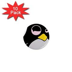 Lazy Linux Tux Penguin 1  Mini Button Magnet (10 Pack)