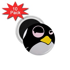Lazy Linux Tux Penguin 1.75  Button Magnet (10 pack)