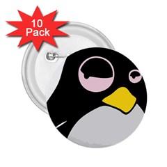 Lazy Linux Tux Penguin 2.25  Button (10 pack)