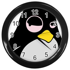 Lazy Linux Tux Penguin Wall Clock (black)