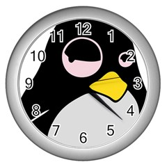 Lazy Linux Tux Penguin Wall Clock (silver)