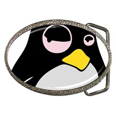 Lazy Linux Tux Penguin Belt Buckle (Oval)