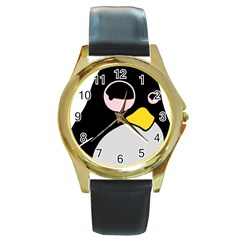 Lazy Linux Tux Penguin Round Leather Watch (Gold Rim)
