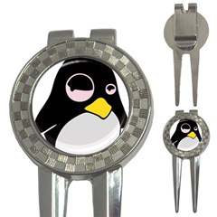 Lazy Linux Tux Penguin Golf Pitchfork & Ball Marker