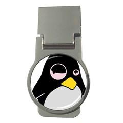 Lazy Linux Tux Penguin Money Clip (Round)