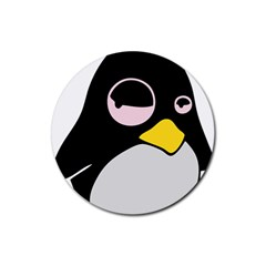 Lazy Linux Tux Penguin Drink Coasters 4 Pack (round)