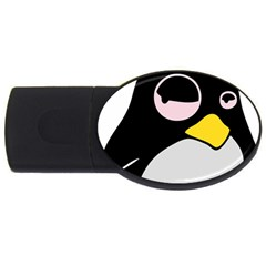 Lazy Linux Tux Penguin 2GB USB Flash Drive (Oval)