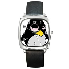 Lazy Linux Tux Penguin Square Leather Watch