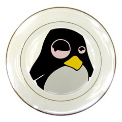 Lazy Linux Tux Penguin Porcelain Display Plate