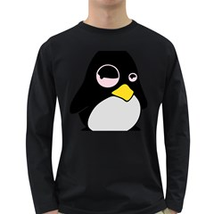 Lazy Linux Tux Penguin Mens' Long Sleeve T Shirt (dark Colored)