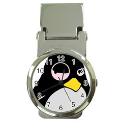 Lazy Linux Tux Penguin Money Clip with Watch