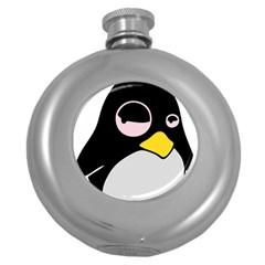 Lazy Linux Tux Penguin Hip Flask (round)