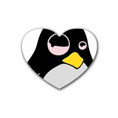 Lazy Linux Tux Penguin Drink Coasters (Heart)