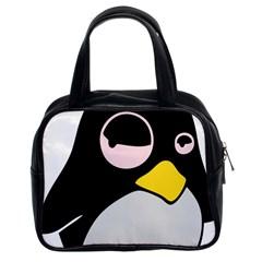Lazy Linux Tux Penguin Classic Handbag (Two Sides)