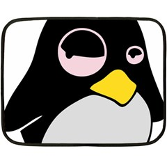 Lazy Linux Tux Penguin Mini Fleece Blanket (Two Sided)