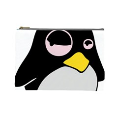 Lazy Linux Tux Penguin Cosmetic Bag (Large)