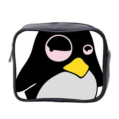 Lazy Linux Tux Penguin Mini Travel Toiletry Bag (two Sides)