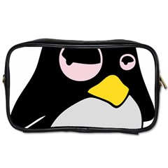 Lazy Linux Tux Penguin Travel Toiletry Bag (One Side)