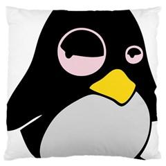 Lazy Linux Tux Penguin Large Cushion Case (two Sided)