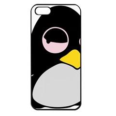 Lazy Linux Tux Penguin Apple Iphone 5 Seamless Case (black)