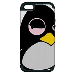 Lazy Linux Tux Penguin Apple iPhone 5 Hardshell Case (PC+Silicone)