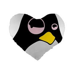 Lazy Linux Tux Penguin 16  Premium Heart Shape Cushion