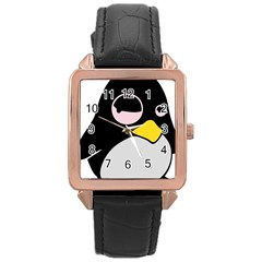 Lazy Linux Tux Penguin Rose Gold Leather Watch