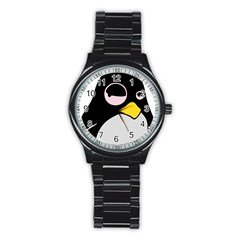 Lazy Linux Tux Penguin Sport Metal Watch (Black)