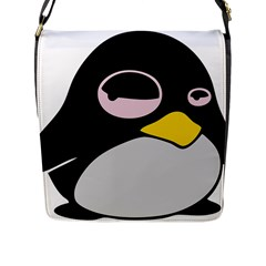 Lazy Linux Tux Penguin Flap Closure Messenger Bag (Large)