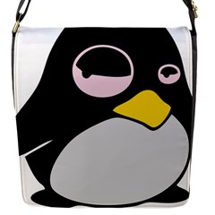 Lazy Linux Tux Penguin Flap Closure Messenger Bag (Small)