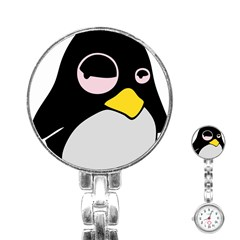Lazy Linux Tux Penguin Stainless Steel Nurses Watch