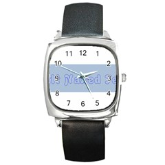 1logo2 Square Leather Watch