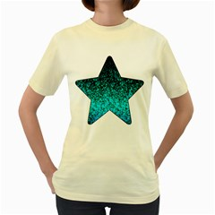 Glitter Dust 1  Womens  T-shirt (Yellow)