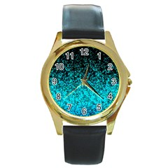 Glitter Dust 1 Round Leather Watch (Gold Rim)