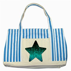 Glitter Dust 1 Blue Striped Tote Bag