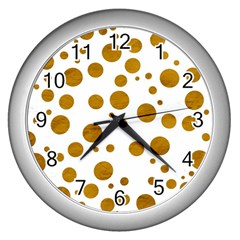Tan Polka Dots Wall Clock (Silver)