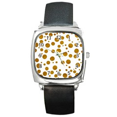 Tan Polka Dots Square Leather Watch