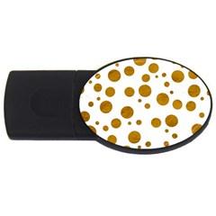 Tan Polka Dots 4GB USB Flash Drive (Oval)