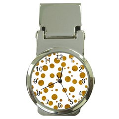 Tan Polka Dots Money Clip With Watch